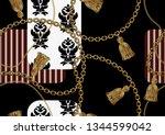 seamless golden chain patterns  ...   Shutterstock .eps vector #1344599042