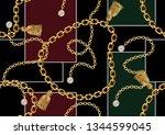 seamless golden chain patterns  ... | Shutterstock .eps vector #1344599045