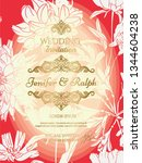 classic wedding card with... | Shutterstock .eps vector #1344604238