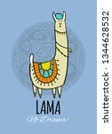 cute lama character. greeting... | Shutterstock .eps vector #1344628532