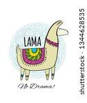 cute lama character. greeting... | Shutterstock .eps vector #1344628535