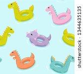 inflatable dinosaur swimming... | Shutterstock .eps vector #1344635135