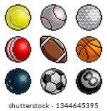 an 8 bit pixel art style video... | Shutterstock . vector #1344645395