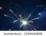 blue firework in the night sky | Shutterstock . vector #1344646808