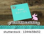 happy easter greeting card | Shutterstock . vector #1344658652