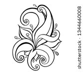paisley background. hand drawn... | Shutterstock .eps vector #1344660008