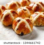 hot cross buns  freshly baked... | Shutterstock . vector #1344661742