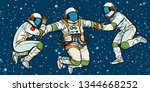 three astronauts in space in... | Shutterstock .eps vector #1344668252