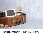 old fashioned leather suitcase  ... | Shutterstock . vector #1344671192
