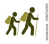 hiking icon illustration... | Shutterstock .eps vector #1344714302