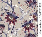 jacobean seamless pattern....   Shutterstock .eps vector #1344721178