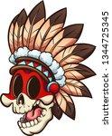 cartoon native american skull ... | Shutterstock .eps vector #1344725345