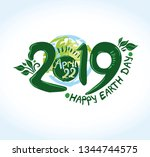 happy earth day 2019. april 22. ... | Shutterstock .eps vector #1344744575