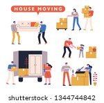 moving center staff and their... | Shutterstock .eps vector #1344744842