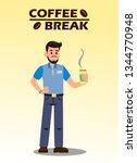 coffee break flat vector... | Shutterstock .eps vector #1344770948