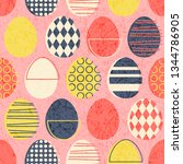 abstract seamless retro easter... | Shutterstock .eps vector #1344786905
