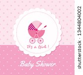 baby arrival announcement card  ... | Shutterstock .eps vector #1344804002