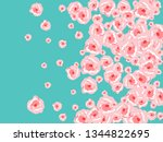 floral summer poster with pink... | Shutterstock .eps vector #1344822695