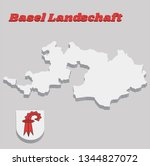 3D Map outline and Coat of arms of Basel-Landschaft, The canton of Switzerland with name text Basel Landschaft.
