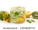 cold drink with ice and fruit | Shutterstock . vector #1344838772