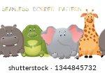 Stock vector vector seamless border pattern with elephant giraffe crocodile and hippopotamus cute fat 1344845732