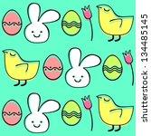 easter seamless pattern  vector ... | Shutterstock .eps vector #134485145