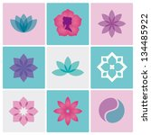 Flowers Design Icons Vector Fo...