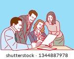 meeting at office    vector... | Shutterstock .eps vector #1344887978