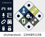 strength icon set. 13 filled... | Shutterstock .eps vector #1344891158