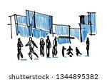 people in urban scene cartoon... | Shutterstock . vector #1344895382