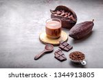 hot chocolate cocoa drink in... | Shutterstock . vector #1344913805
