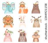 cute animals wearing headdress... | Shutterstock .eps vector #1344921158