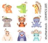 cute animals wearing headdress... | Shutterstock .eps vector #1344921185