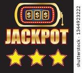 dollar winner jackpot in golden ... | Shutterstock .eps vector #1344923222