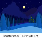 landscape with a house in the... | Shutterstock .eps vector #1344931775