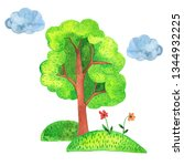 scandinavian tree  grass ... | Shutterstock . vector #1344932225