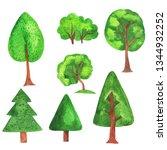 set of cute scandinavian trees... | Shutterstock . vector #1344932252