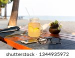 lemon and honey drink with... | Shutterstock . vector #1344935972
