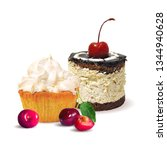 cupcake  fairy cake with cherry....   Shutterstock .eps vector #1344940628