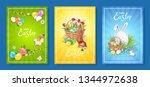 happy easter  set of three...   Shutterstock .eps vector #1344972638