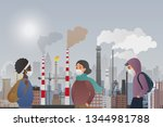 young sad male and female... | Shutterstock .eps vector #1344981788