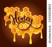 honeycomb with flowing honey... | Shutterstock .eps vector #1345003802