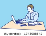 man working with laptop  ... | Shutterstock .eps vector #1345008542