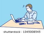 man working with laptop ... | Shutterstock .eps vector #1345008545