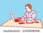 man working with laptop  ... | Shutterstock .eps vector #1345008548