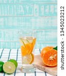 summer refreshing drink  citrus ... | Shutterstock . vector #1345023212