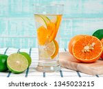 summer refreshing drink  citrus ... | Shutterstock . vector #1345023215