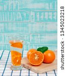summer refreshing drink  citrus ... | Shutterstock . vector #1345023218