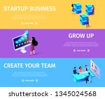 horizontal banner set with copy ... | Shutterstock .eps vector #1345024568
