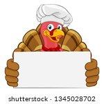 chef turkey thanksgiving or... | Shutterstock .eps vector #1345028702